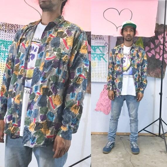 Vintage all over print shirt size small silk shirt long sleeve shirt 1990s 1980s