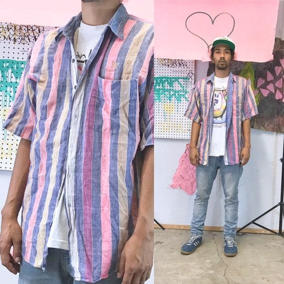 Vintage striped cotton shirt 1990s 1980s size large fresh prince colorful