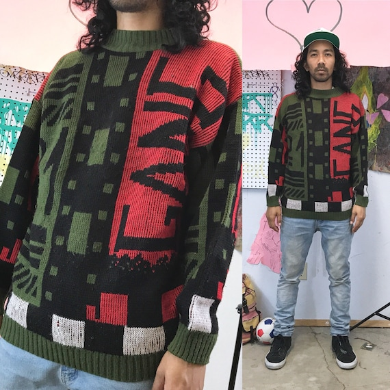 Vintage knit sweater gang colorblock artsy basuqiat keith haring late 80s size medium
