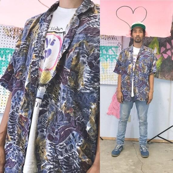 Vintage all over print shirt loud print rayon shirt fresh prince nightclub 1990s 1980s size medium