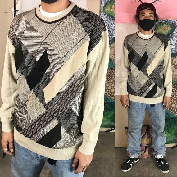 Vintage Wool Sweater by Franco Ponti Brown Large 1990s 1980s