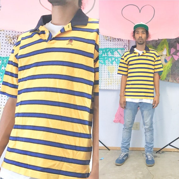 Vintage tommy hilfiger striped polo yellow blue 1990s size large