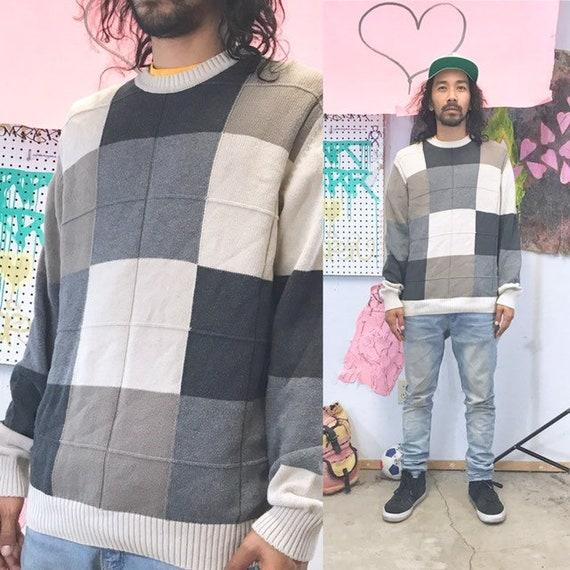 Vintage knit sweater black white squares 1990s 1980s size medium