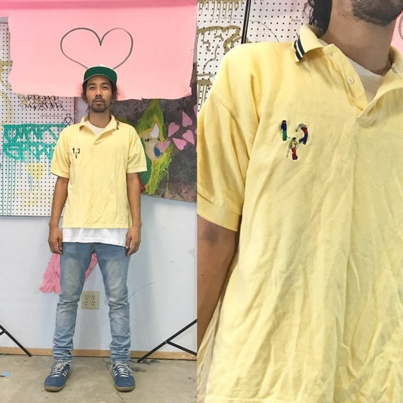 Vintage polo shirt yellow golf size large 1990s 1980s golfing