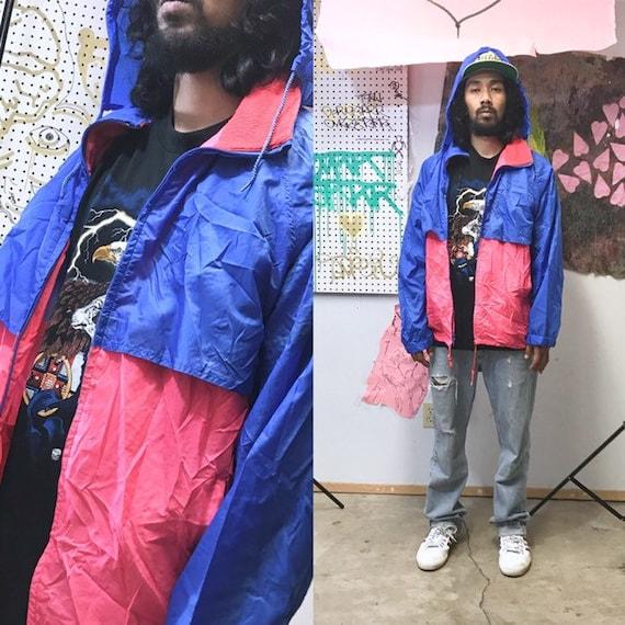 Vintage windbreaker jacket 1980's hiking trail jacket rain poncho hoodie size large colorblock red blue