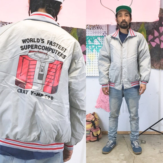 Vintage 1980's coach jacket supercomputers early computer 1990s early tech industry size large