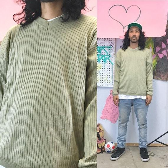 Vintage ribbed sweater green vneck silk cotton blend green size xl