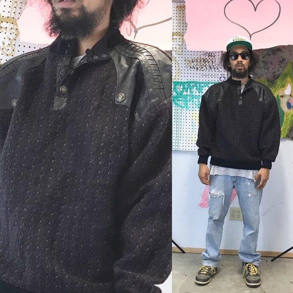 1980s sweater new wave punk depeche mode new jack swing cosi italy coogi large black leather patches sweater