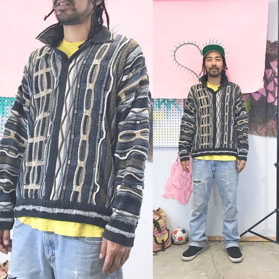 Vintage coogi style sweater knit colorful biggie sweater notorious big 1990s 1990s
