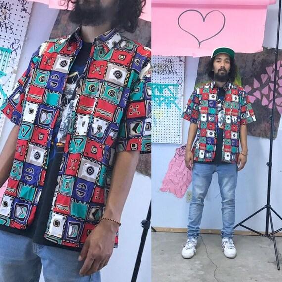Vintage loud print shirt all over print artsy size small cotton shirt hawaiian aloha
