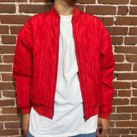 Vintage quilted silk bomber jacket 1990s red 90s … - image 3