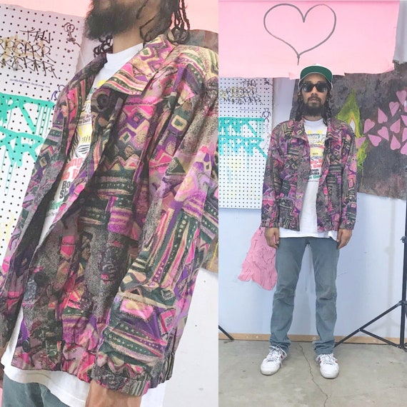 Vintage jacket loud print jacket all over print size large pink purple 1990s 1980s