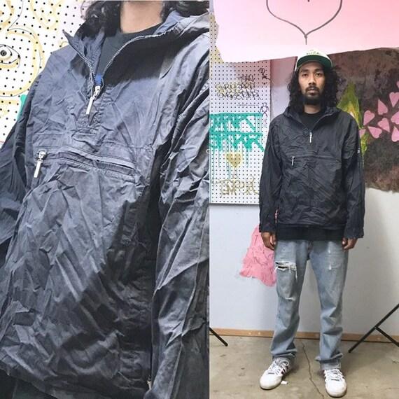 Vintage calvin klein windbreaker hoodie black 3/4 zip size large black hip hop wu tang