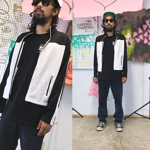 Vintage track jacket early 1990's minimalist dkny calvin klein moto jacket 1980s