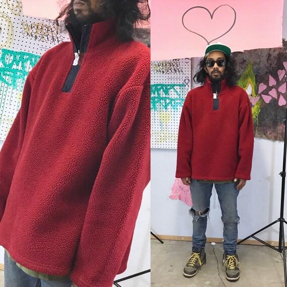 Vintage tommy hilfiger red fleece quarter zip size medium y2k