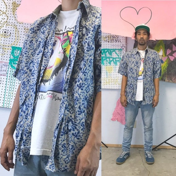 Vintage all over print shirt paisley bugle boy shirt skater the early 1990's 1980's size medium