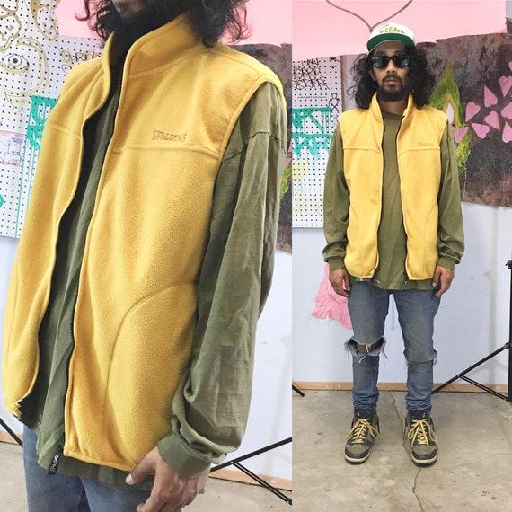Vintage y2k yellow fleece vest spalding size large 1990s size medium