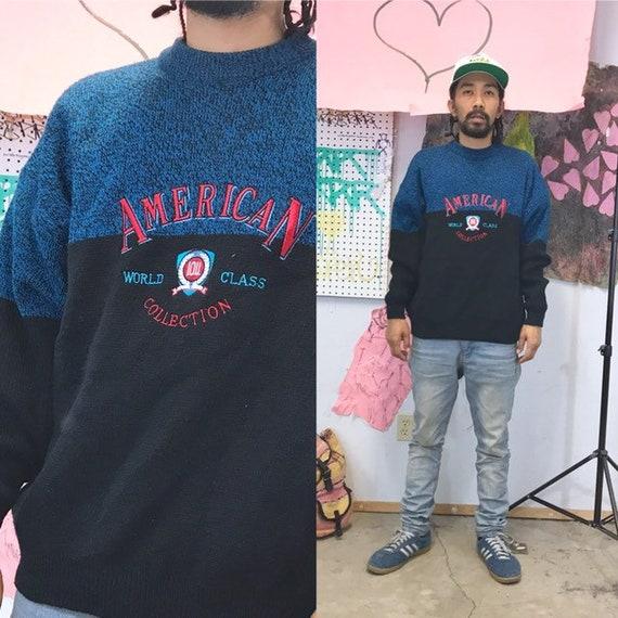 Vintage IOU knit sweatshirt early 1990s 1980s size large blue black acrylic