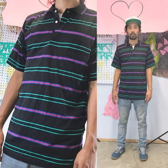 Vintage striped polo shirt 1980's 1990s size small stranger things