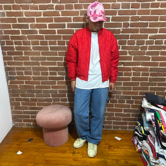 Vintage quilted silk bomber jacket 1990s red 90s … - image 2
