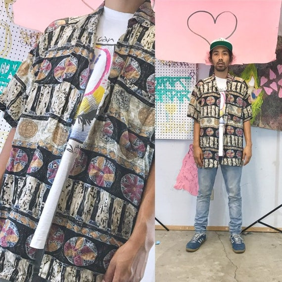 Vintage all over print rayon shirt loud print 1990s 1980s size large fresh prince