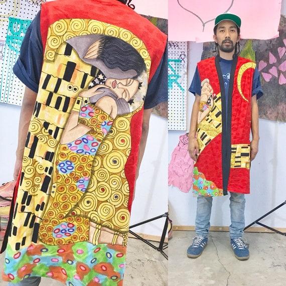 Vintage dilemma art robe 1990s 1980s kimono hand painted