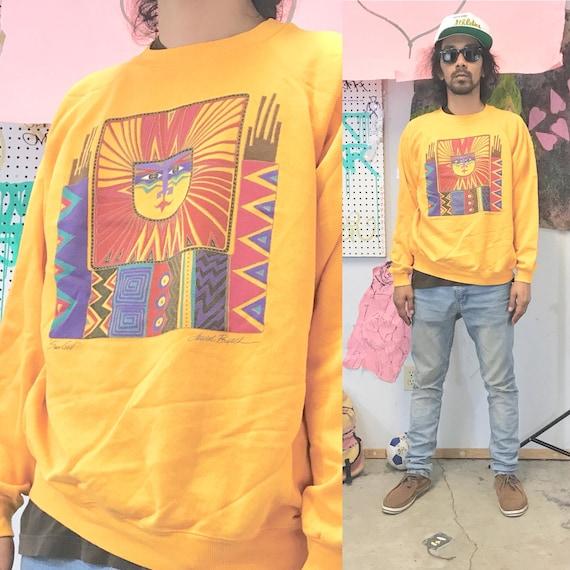 Vintage sweatshirt sun god artwork yellow 1990s 1980s size large