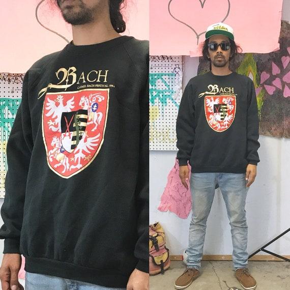 Vintage bach sweatshirt size xl black oversized composer music 1980's 1990s