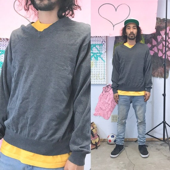 Vintage vneck sweater knit cotton 1990s 1980s size medium grey