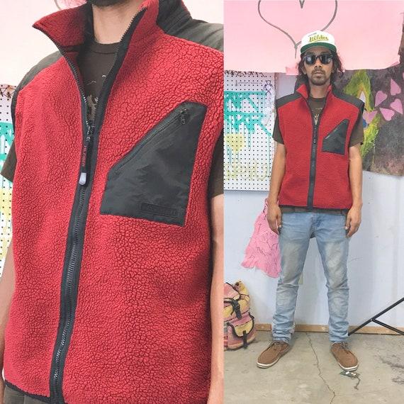 Vintage tommy hilfiger red fleece vest 1990s 1980s size xl