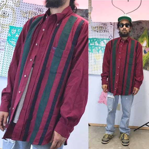 Vintage faconnable maroon button up shirt striped early 90s cross colours karl kani