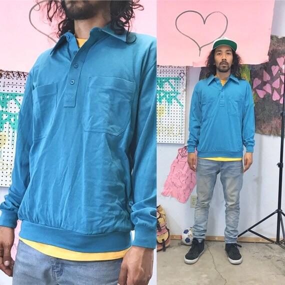 Vintage collar sweatshirt size medium blue rugby 1990s 1980s teal blue