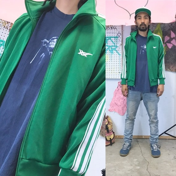 Vintage asics tiger onitsuka green track jacket polyester bboy hip hop japan 1980's size medium