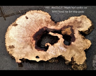 Cookie cut   Maple burl   epoxy river table   craft woods   89