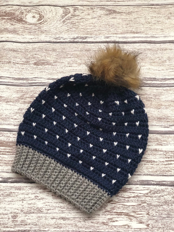 Navy and hearts faux fur pom pom beanie    handmade crochet  d2d116901a64