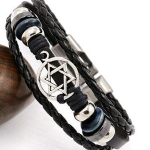 Goth Metal Spiked Adjustable Buckle closure Black Leather Bracelets Punk MIP