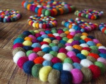 Felt Ball Coasters -Coasters-Pot Coasters-Felt Ball - Wool Felt - Glass Coasters-RUND