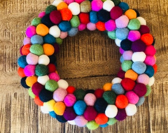 Wreath- Door wreath- Christmas wreath- Felt balls- Advent- Table wreath