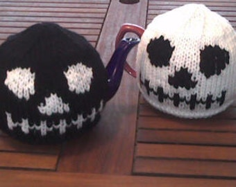 Gothic Skull Head Tea Cosy and Skull Dishcloth Knitting pattern