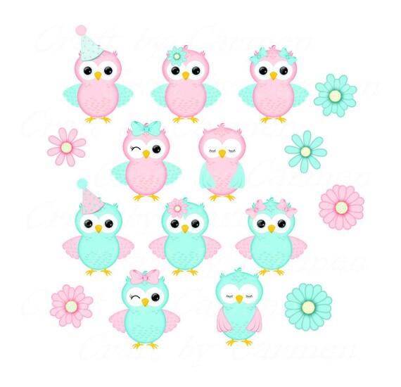 Lindas rosas y aqua búhos clip art buhos scrapbook diseño | Etsy