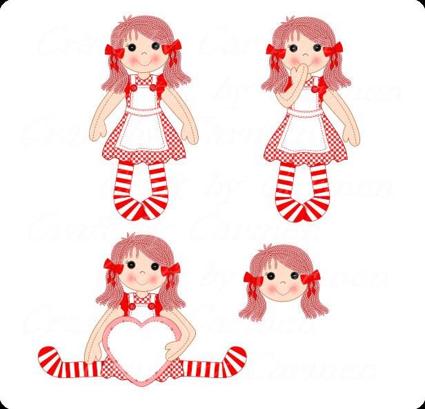 Muñeca de trapo muñeca Imágenes Prediseñadas Linda muñeca   Etsy