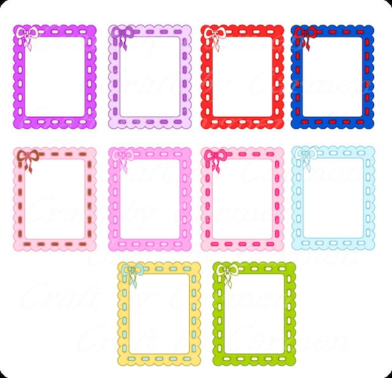 frame with bow frames clip art cute frames scrapbook etsy