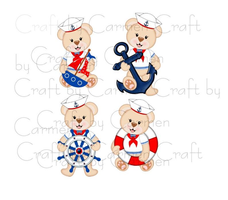Transparent background digital art Sailor teddy bear personal /& small business use scrapbook, bear clip art nautical