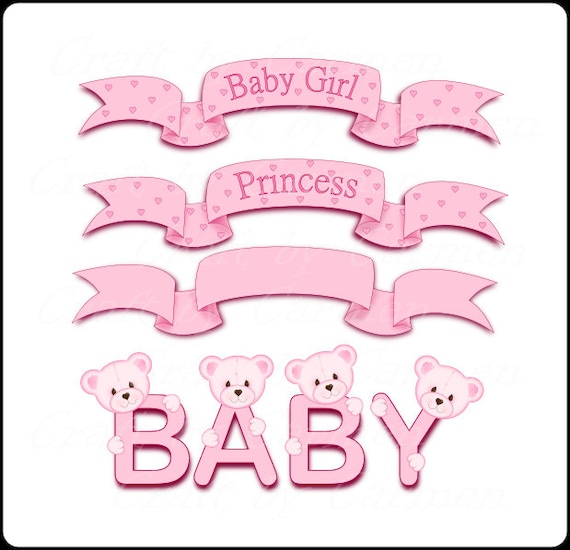 Banners Clip Art Baby Clip Art Baby Bannersbaby Bear Baby Etsy