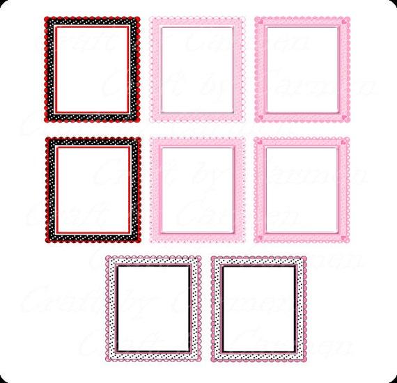 Polka dot frames frames clip art cute frames scrapbook | Etsy
