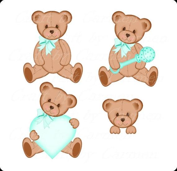 Oso de peluche clip arte lindo teal peluche oso oso osos | Etsy