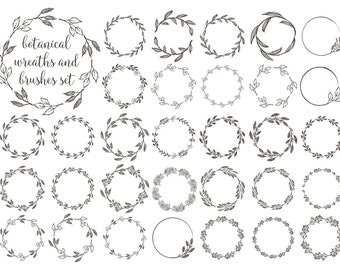 Wreaths Clipart Rustic Wreath Botanical Grunge Png Vector Eps Brush