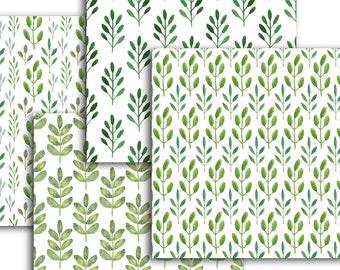 Botanical digital paper pack watercolor leaves seamless pattern 12x12 inch background printable scrapbooking paper watercolor green leaves