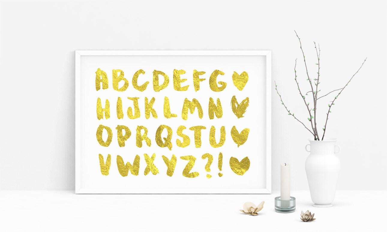 Gold Alphabet Clip Art Png Gold Foil Letters Hearts Clipart | Etsy
