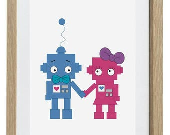 Robot Love A4 Print in 3 Colour Themes - Kids & Baby Decor Wall Art